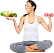 eating healthy and exercising